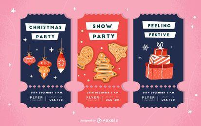 Paquete de invitación de entradas para la fiesta de Navidad