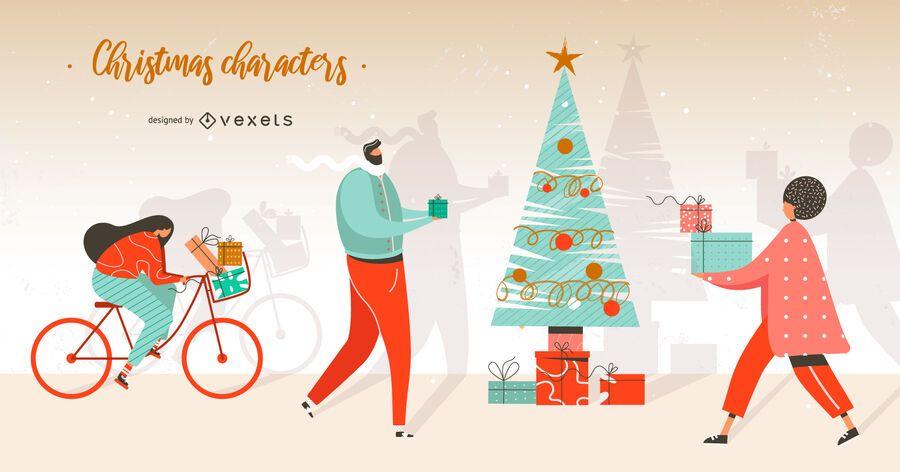 Christmas character illustration set