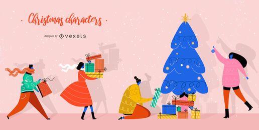 Conjunto de caracteres de regalos de Navidad