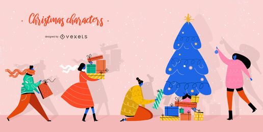 Conjunto de personajes de regalos de navidad