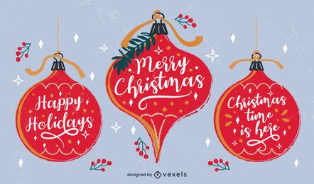 Christmas Lettering Ornaments Design Pack