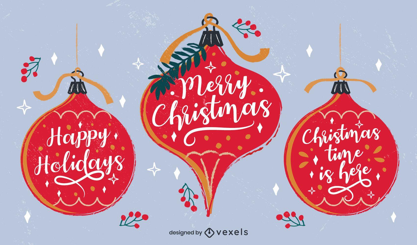 Christmas Lettering Ornaments Design Pack