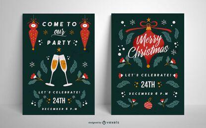 Weihnachtsfeier Poster Set Vorlage