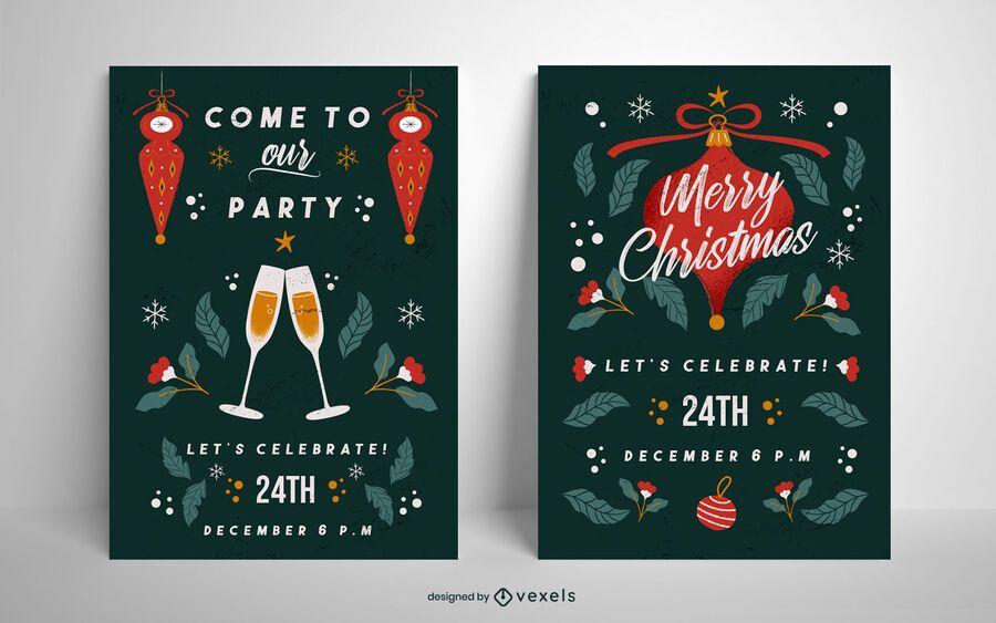 Cartaz de festa de Natal conjunto modelo