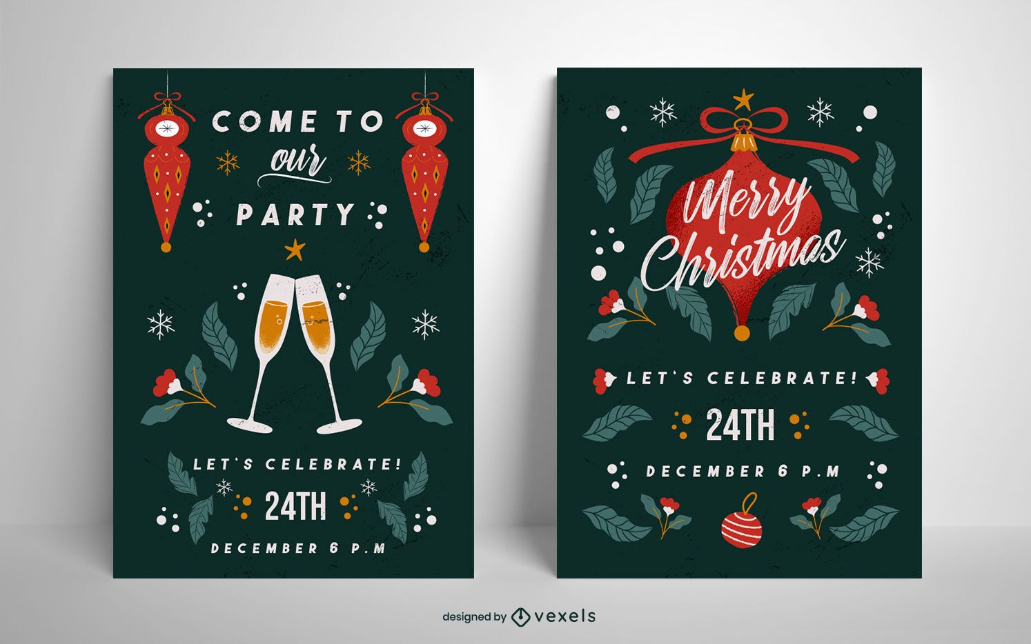 Christmas party poster set template