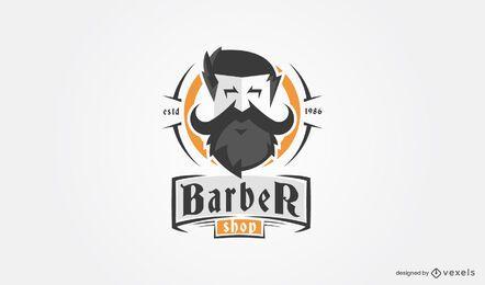 Plantilla de logotipo de barba de peluquería