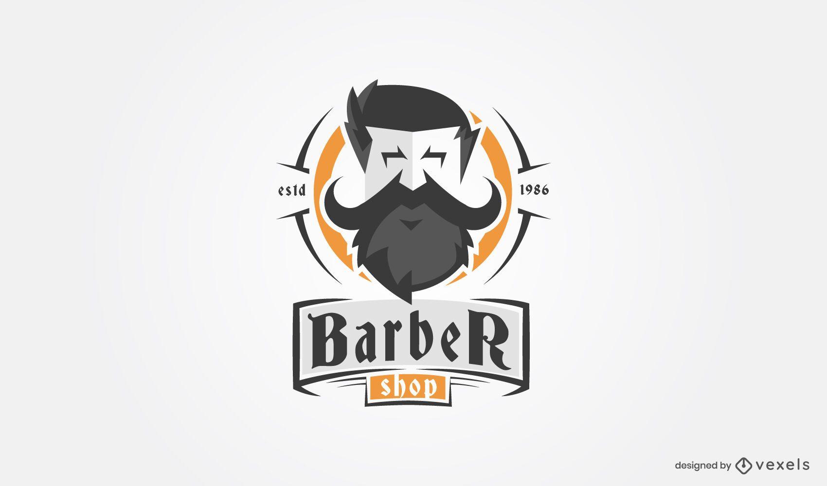 Barber shop beard logo template