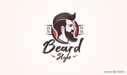Modelo de logotipo estilo barba