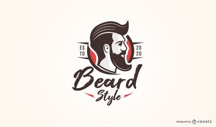 Plantilla de logotipo de estilo barba