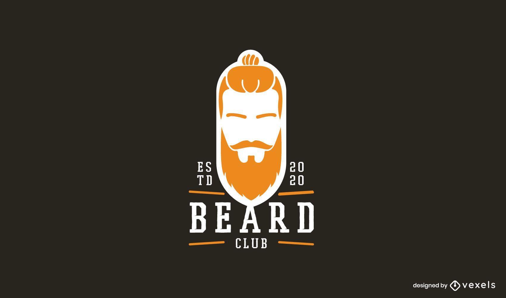Modelo de logotipo de barba comprida