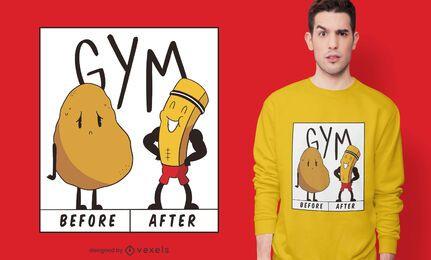 Diseño de camiseta de gimnasio de papa.