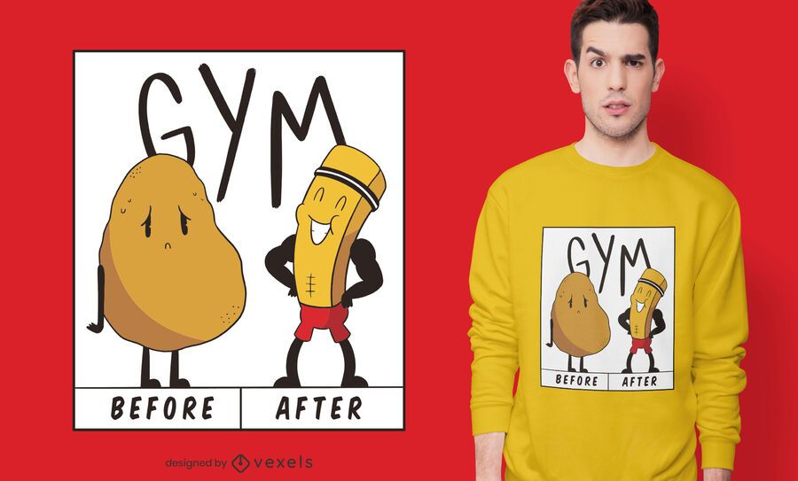 Design de camiseta do Potato Gym