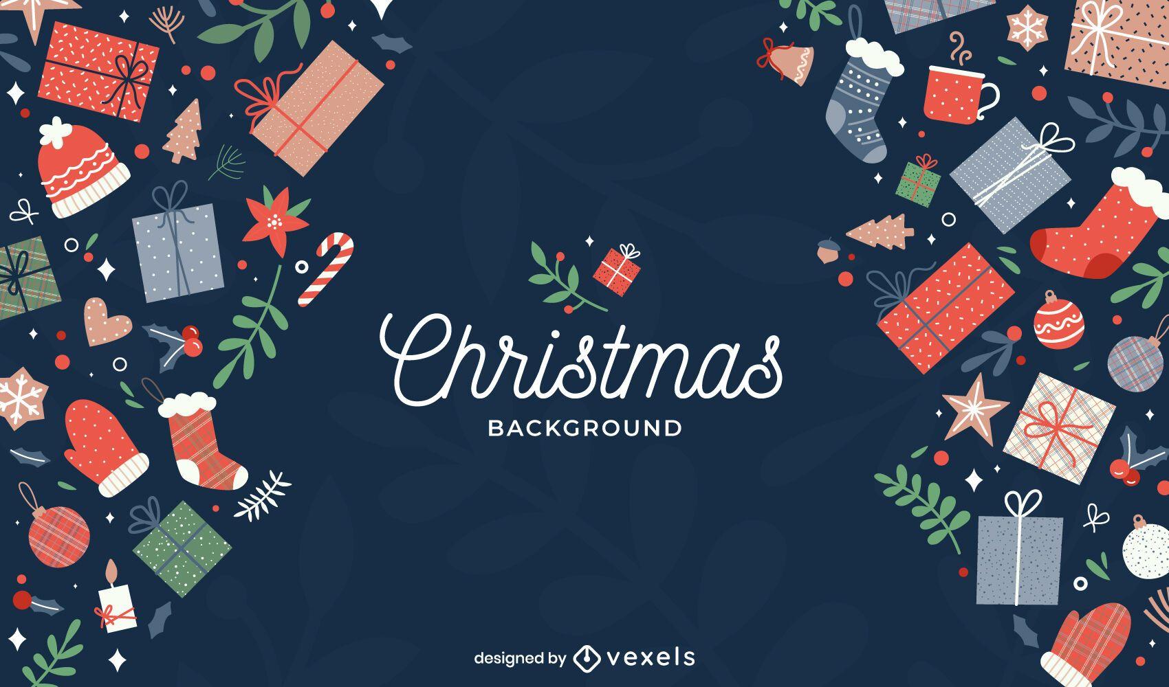 Presents christmas background design