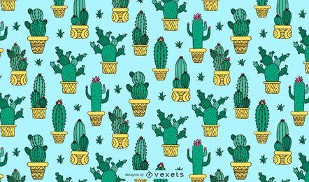 Diseño de patrón de maceta de cactus