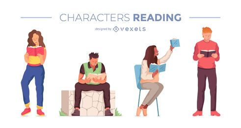 Diseño de escenografía de personajes de lectura