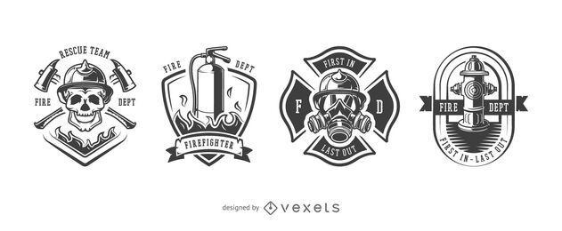Conjunto de crachá de bombeiro