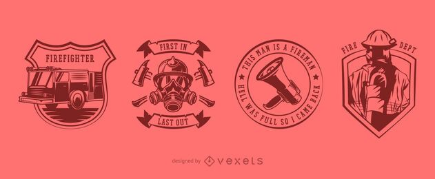 Paquete de diseño de insignia de bombero