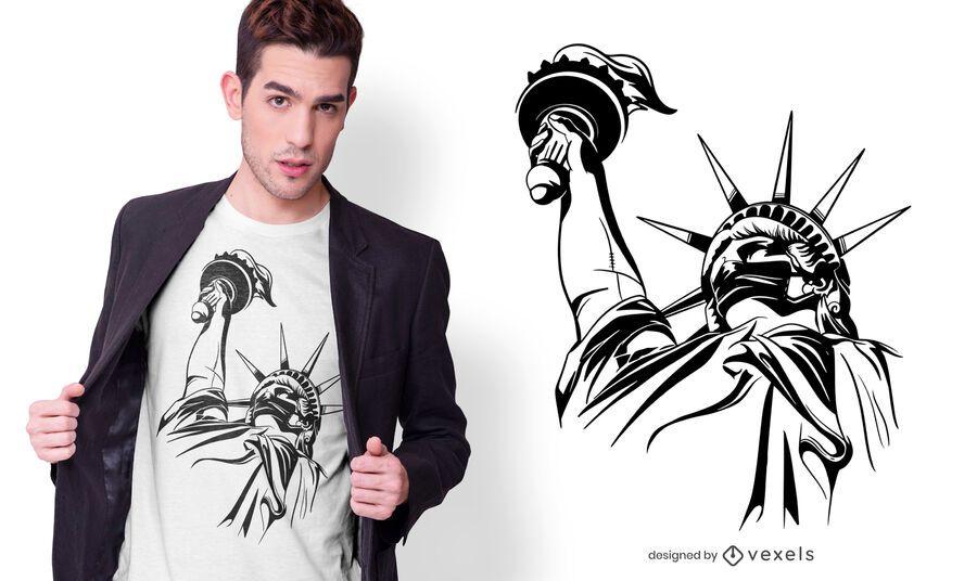 Design de camiseta com máscara facial Lady Liberty