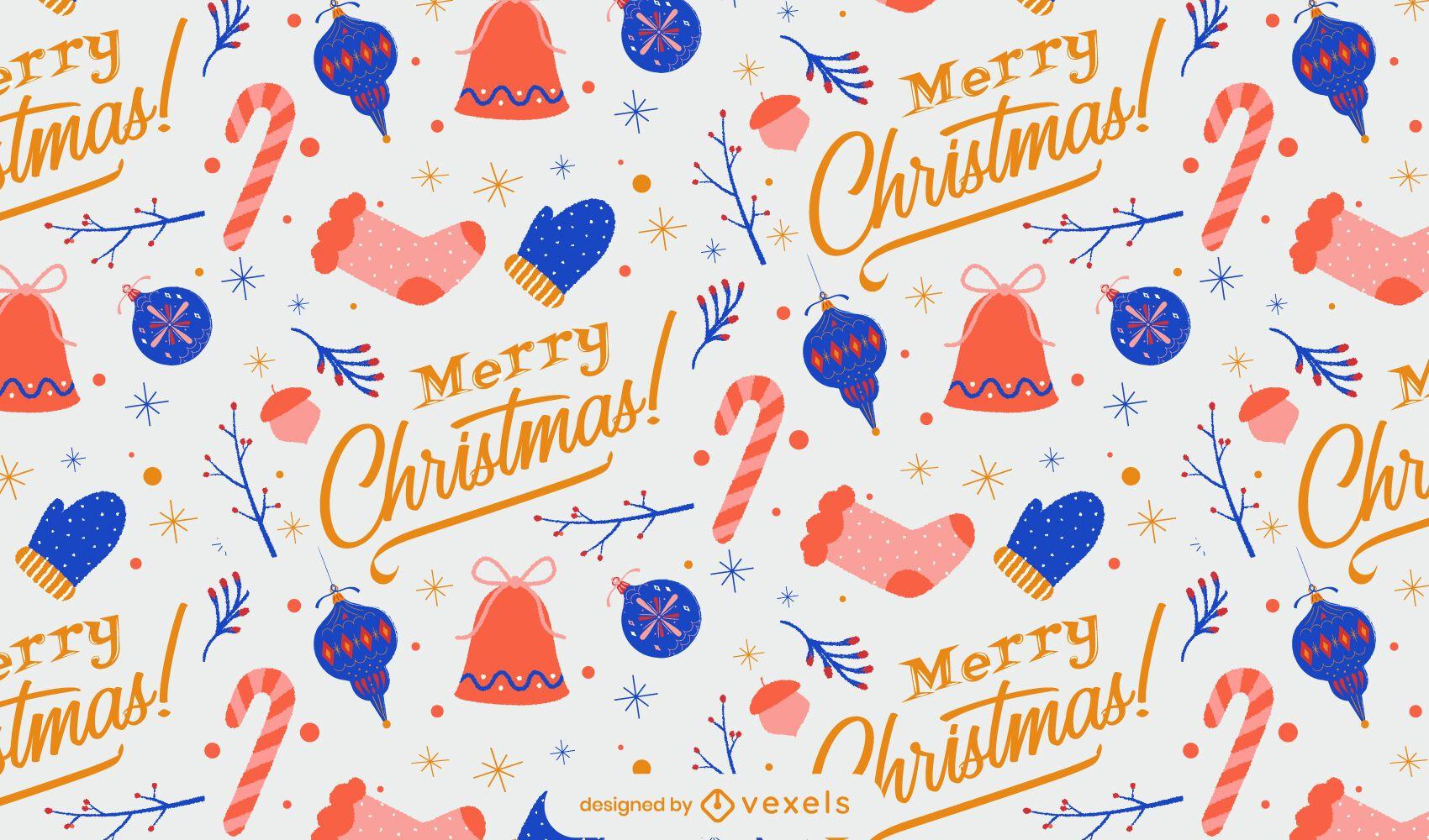 Diseño de patrón de invierno feliz navidad