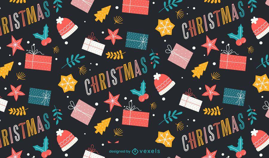 Design de padrão de presentes de Natal colorido