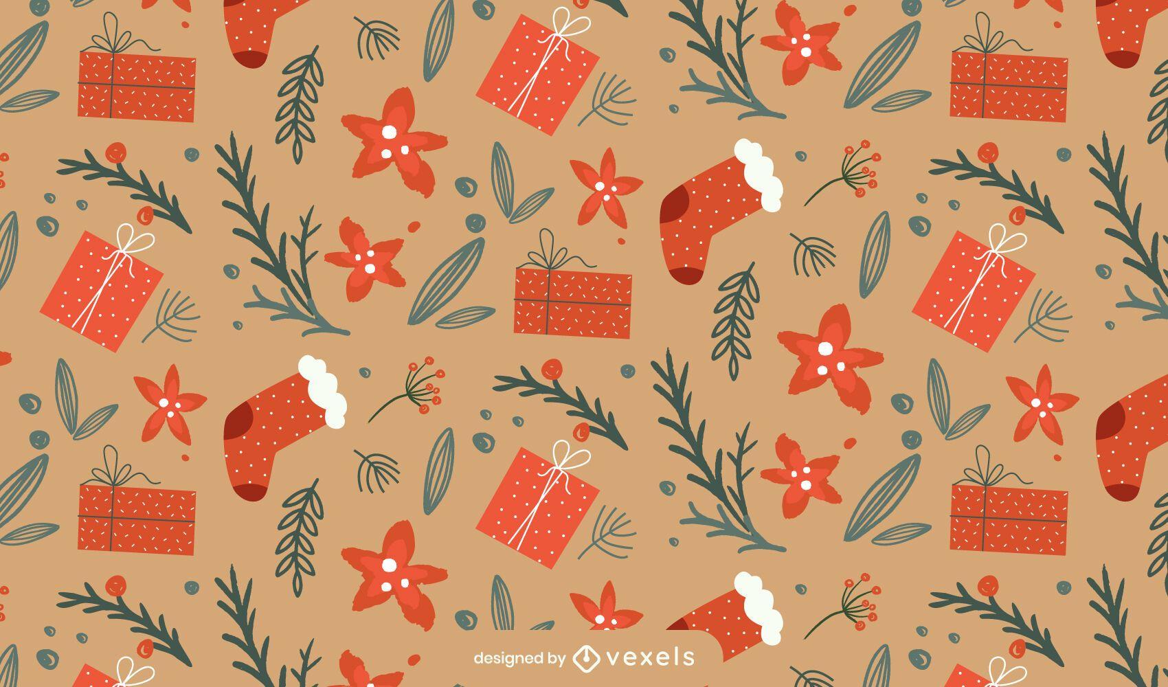 Diseño de patrón de calcetines navideños