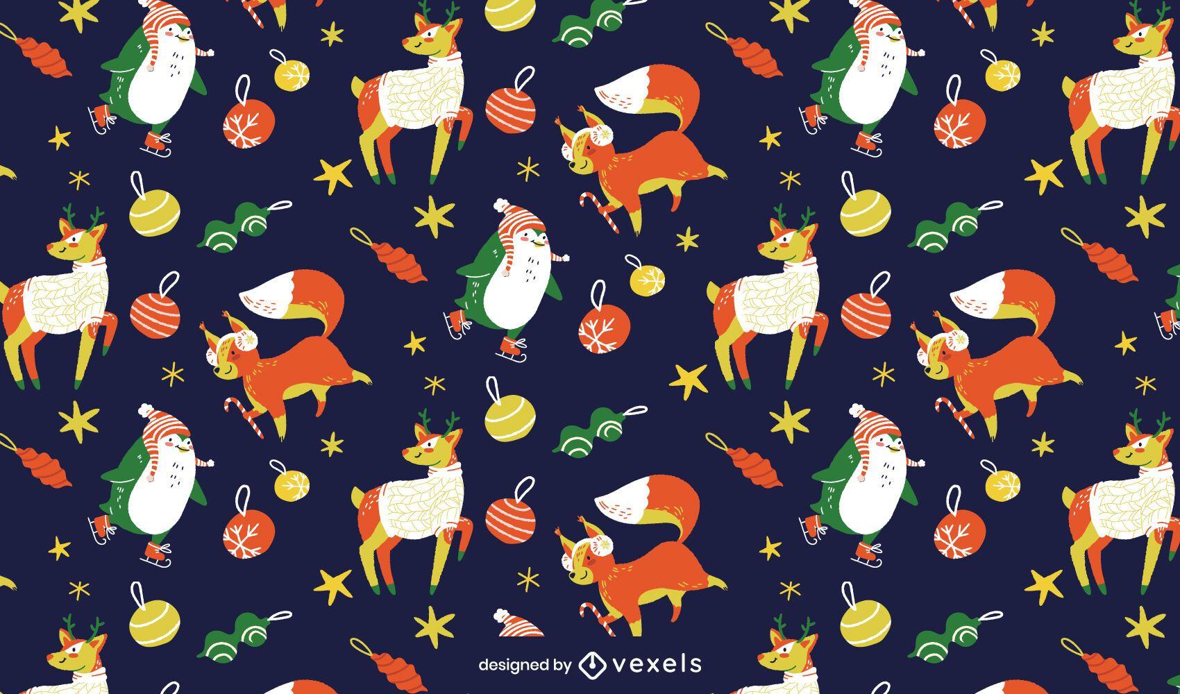 Diseño de patrón de animales navideños