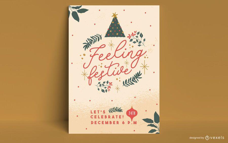 Feeling festive christmas poster design