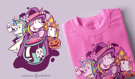 Design de t-shirt de halloween de Unicórnios
