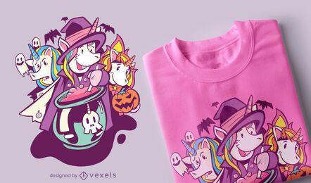Diseño de camiseta de unicornios de halloween