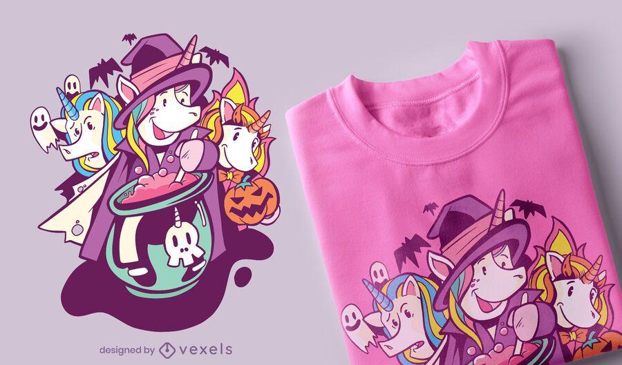 Diseño de camiseta de unicornios halloween