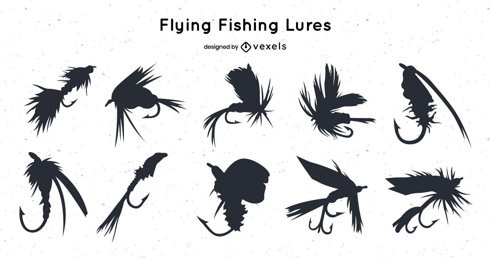 Pacote de silhueta de isca de pesca voadora