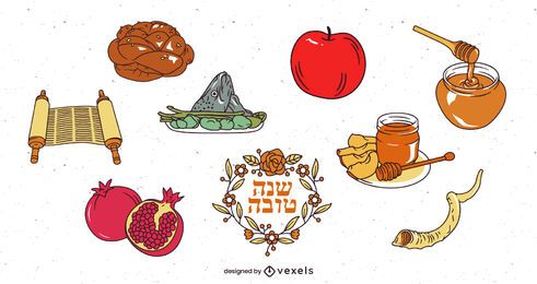 Rosh hashanah element illustration set