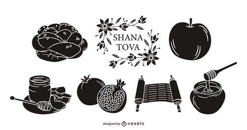 Rosh hashanah black elements set