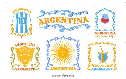 Paquete de Elementos de Argentina Estilo Fileteado