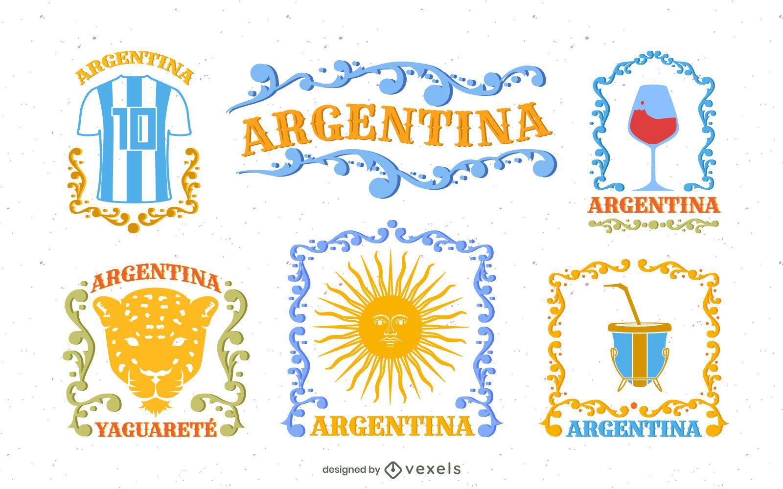 Fileteado Style Argentina Elements Pack