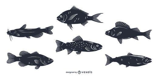 Pacote de silhuetas de peixes de água doce