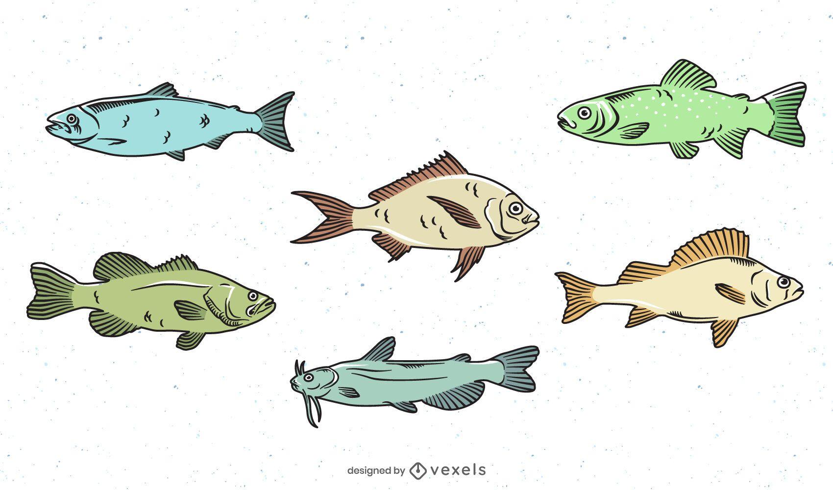 Pacote de design de peixes coloridos de ?gua doce