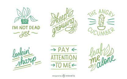 Funny plant lettering set