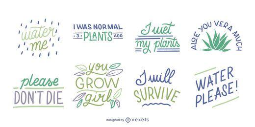 Funny plants lettering set