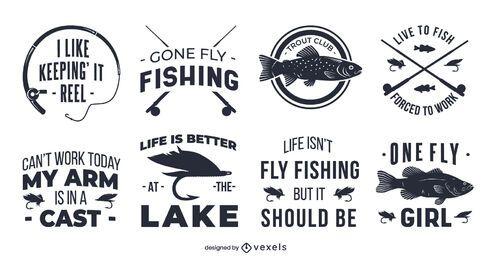 Conjunto de insignias de cotización de pesca con mosca