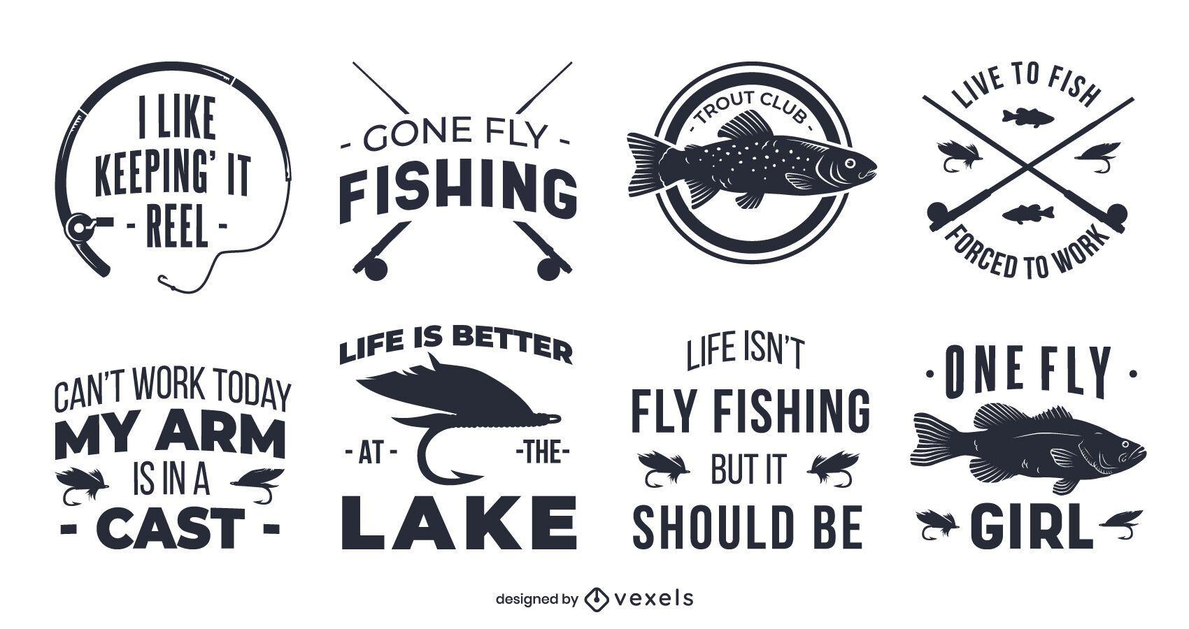 Conjunto de crachás de pesca com mosca