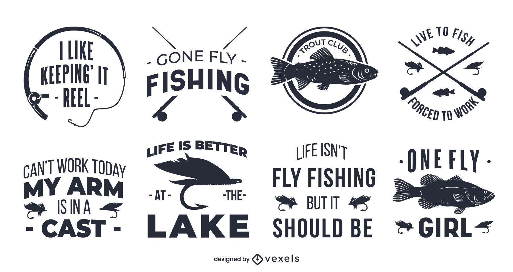 Fly fishing quote badge set