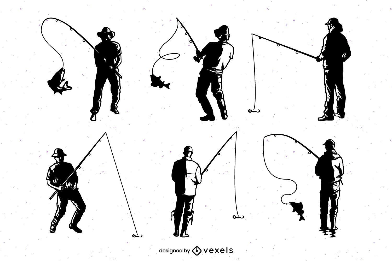 Conjunto de silueta de pescador