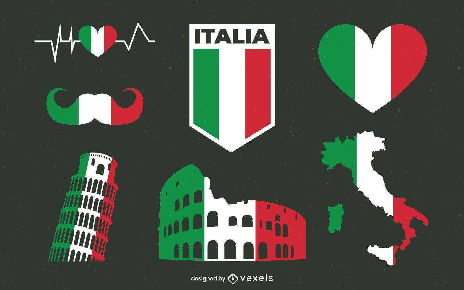 Italien Flaggenelemente Pack