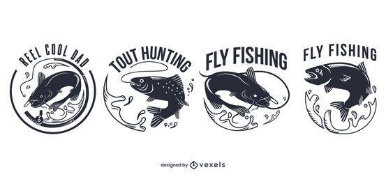 Conjunto de crachá de pesca com mosca
