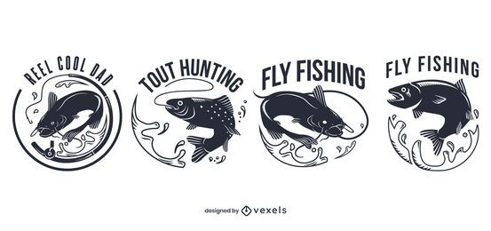 Fly fishing badge set