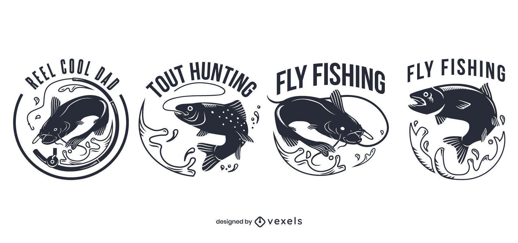 Conjunto de insignias de pesca con mosca
