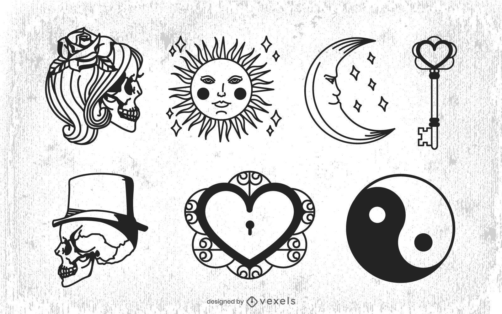 Paquete de elementos ilustrados esotéricos