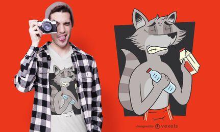 Diseño de camiseta de dieta de mapache.