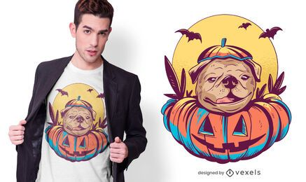Design de camiseta pug de Halloween
